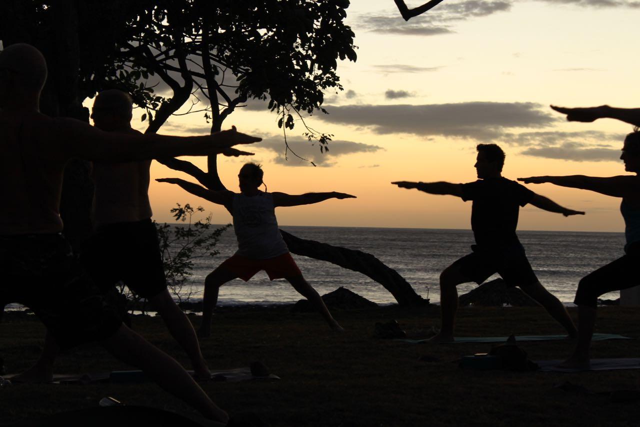 beach yoga group